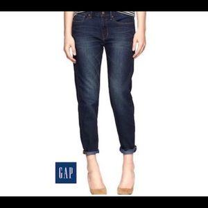 Gap boyfriend contrast cuff dark wash jeans